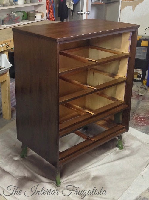MCM Dresser Makeover stained with Minwax Dark Walnut
