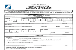 SSS Maternity Form