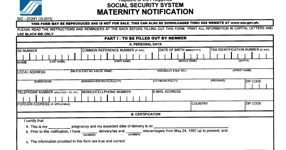 List Of Sss Application Requirements To Avail Maternity