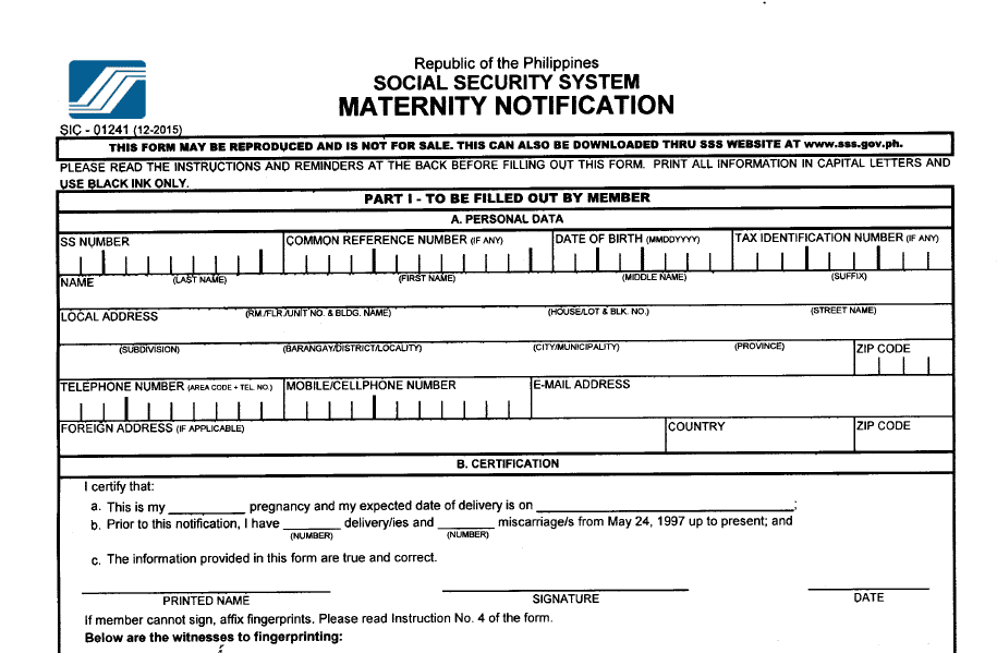 List of SSS Application Requirements to Avail Maternity Benefit