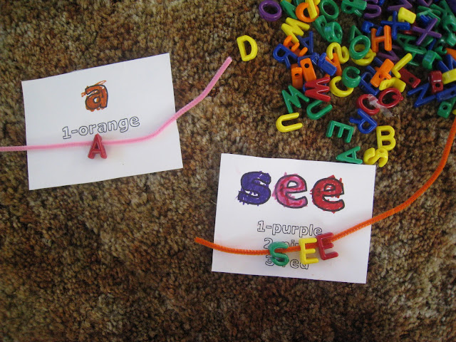 Spelling fun with beads and pipe cleaners