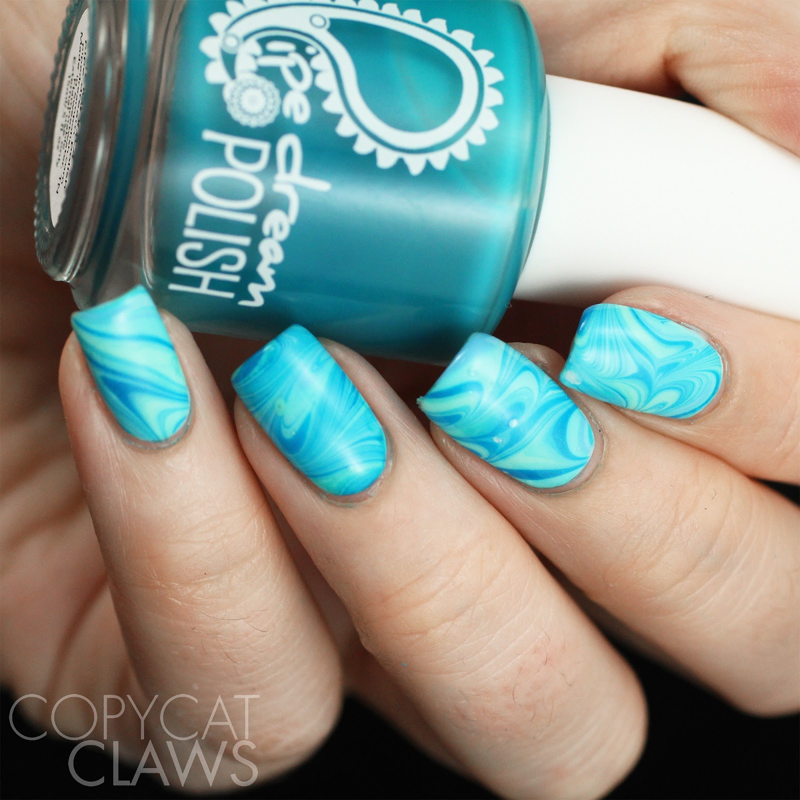 Copycat claws 26 great nail art ideas water i think because i used all shades of the same color and did a swirly water marble i lost some of the color definition but who cares i loved this bubbles prinsesfo Image collections