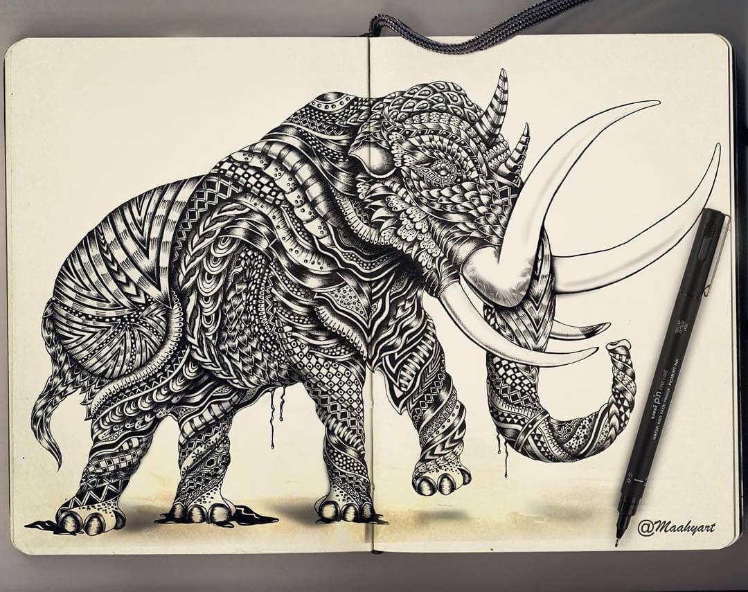 07-Rhino-Elephant-Maahy-Drawings-Given-the-Zentangle-Treatment-www-designstack-co