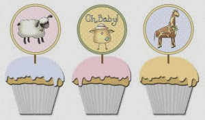 """Free Printable Toppers for Cupcakes """"Oh Baby!"""""""
