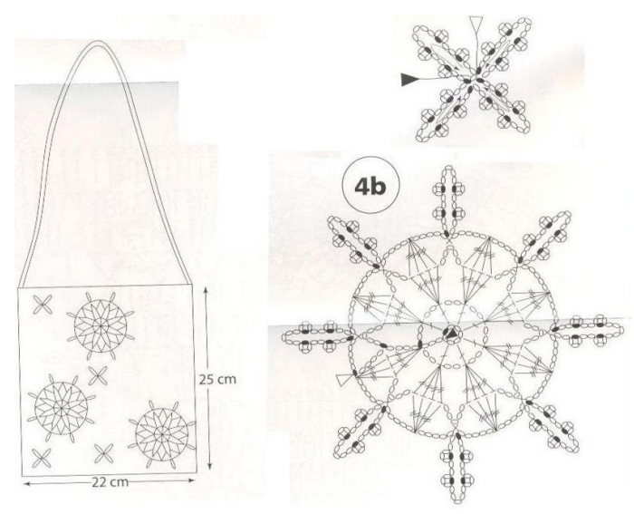 Crochet: crochet snowflakes to decorate the scarf and handbag
