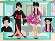 Turn this geisha girl into a modern 21th century fashion diva with our latest makeover studio game!  All you have to do is follow 3 easy steps. First take her to the dressing room and design a whole new outfit. You can change the color and pattern of each clothing item.  Then it's time to go to the hairstyle room and give her a complete new haircut. In the end you must finish the makeover by giving her some lovely trendy make-up.