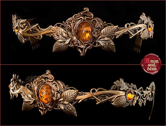 couronne ambre bronze automne orange jaune déesse elfe forêt wicca magie nature
