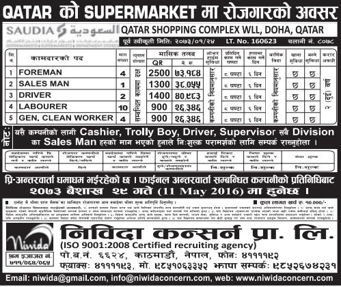 Free Visa & Free Ticket, Jobs For Nepali In Qatar, Salary -Rs.73,184/