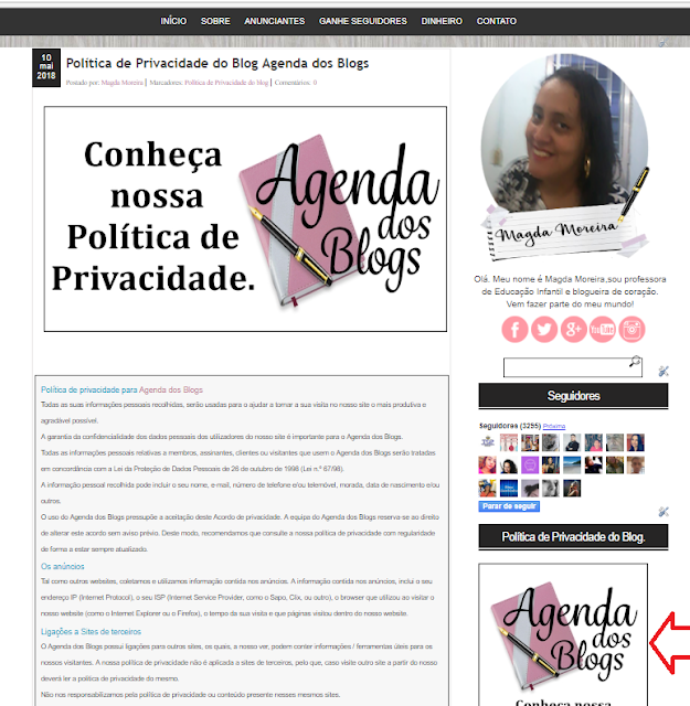 Política da Privacidade da Agenda dos Blogs