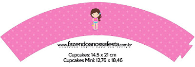 Wrappers para Cupcake de Fiesta en la Piscina para Niña Morena.