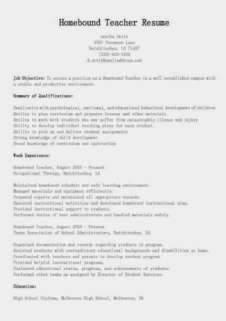 Great Sample Resume: Resume Samples: Homebound Teacher