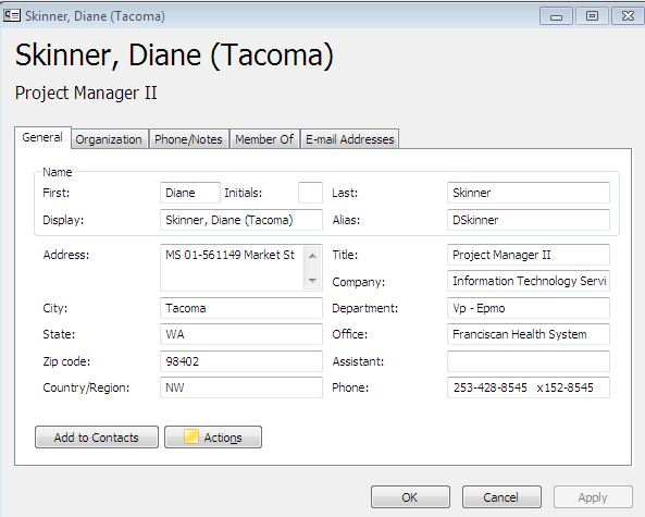 Update Assistant Name Field in Outlook Global Address List