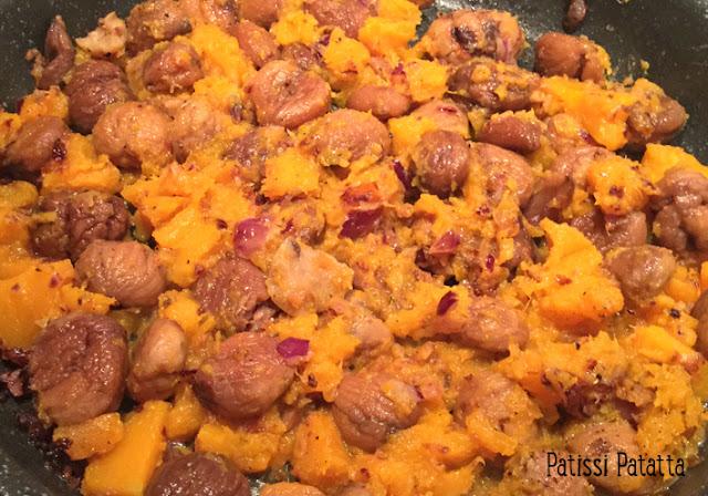 recette d'écrasée de châtaigne, butternut et cranberries, châtaignes, courge butternut, cranberries, accompagnement festif, recette avec des châtaignes, recette avec de la courge butternut, recette avec des cranberries,