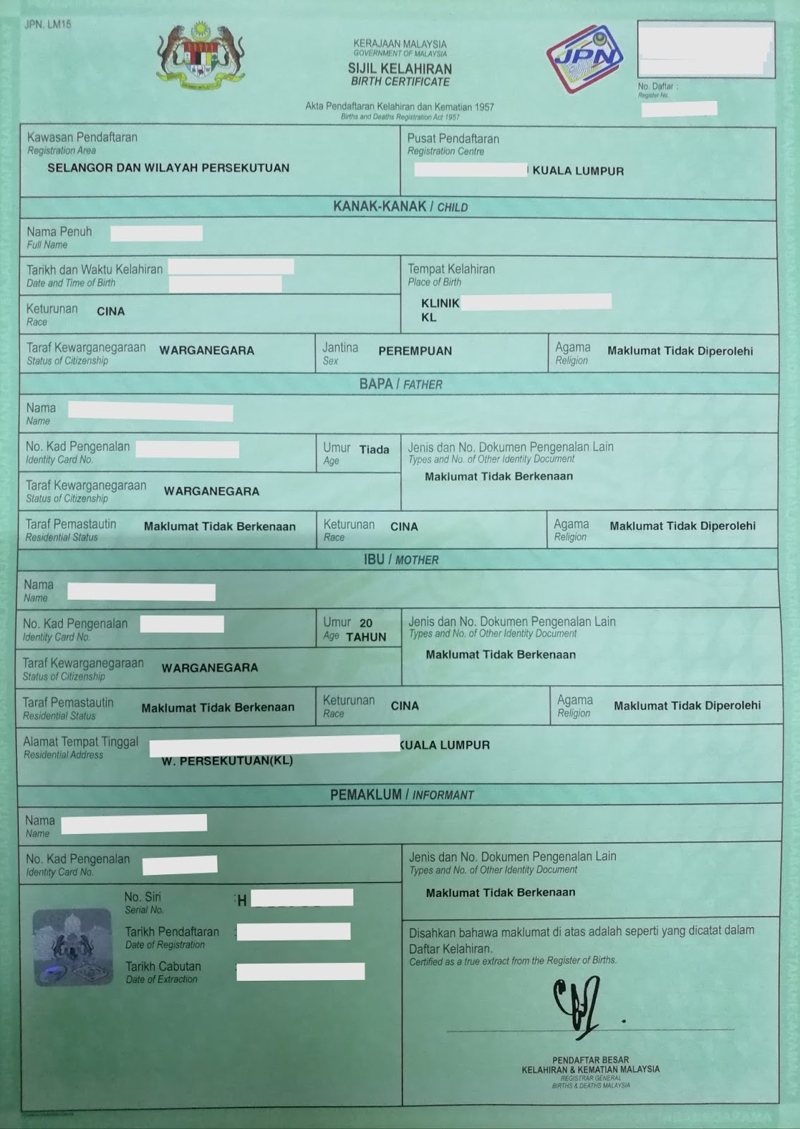 Registration of Marriage between Malaysian and Foreigner: Application for Single Status in Malaysia
