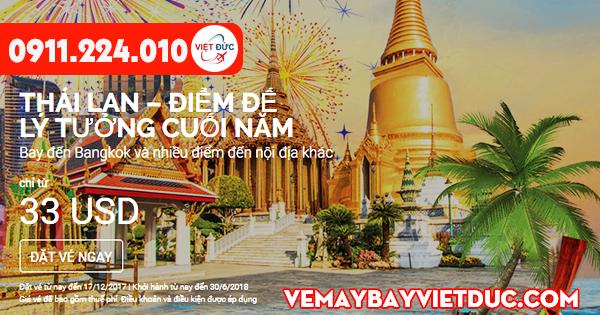Vé khuyến mãi Air Asia đi Bangkok, Thái Lan ngày 11-12-2017