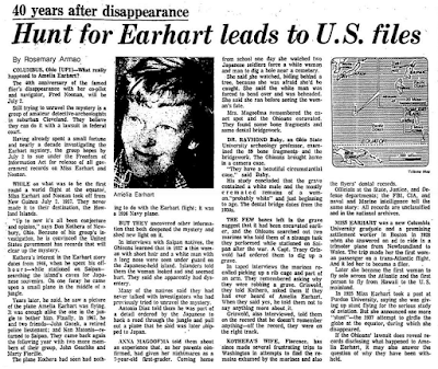 Hunt for Earhart Leads to U.S. Files - Chicago Tribune (1-16-1977)