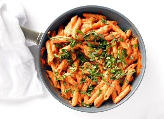 Tomato Basil Cream Pasta #ppasta #vegetarian