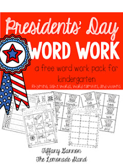 Free Presidents' Day Word Word Freebie for Kindergarten
