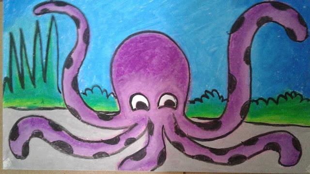 Menggambar Dan Mewarnai Crayon Tema Gurita Sanggar Bina Bakat Anak