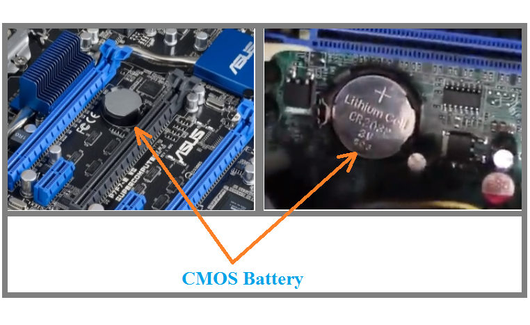 Real time clock (rtc) power failure cmos battery