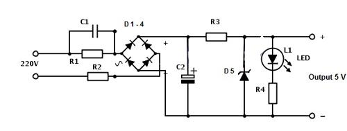 skema adaptor 5 volt tanpa trafo