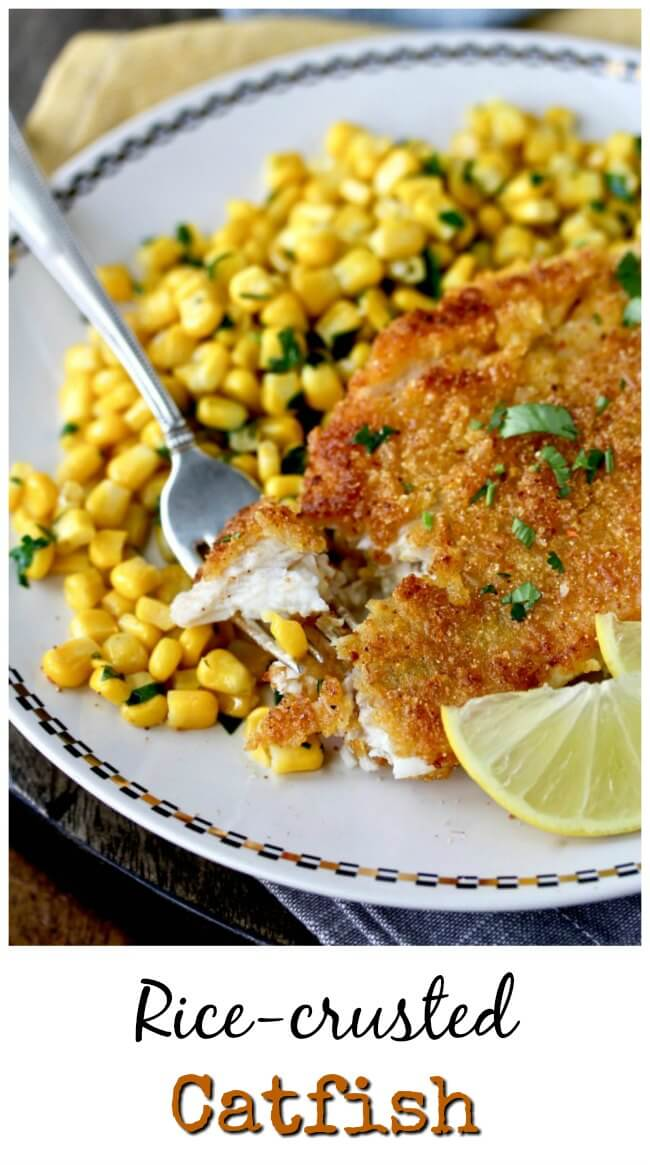 Rice Crusted Catfish with cilantro lime corn #catfish #seafood
