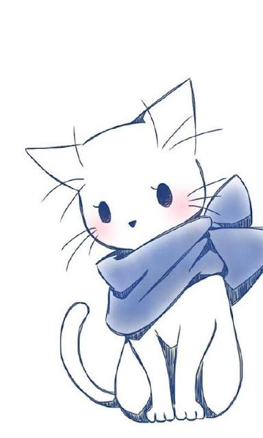 dibujo gatoblanco con bufanda