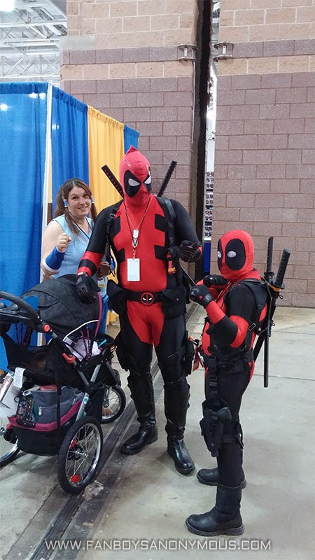 ACBC convention Deadpool with Kidpool cosplayers