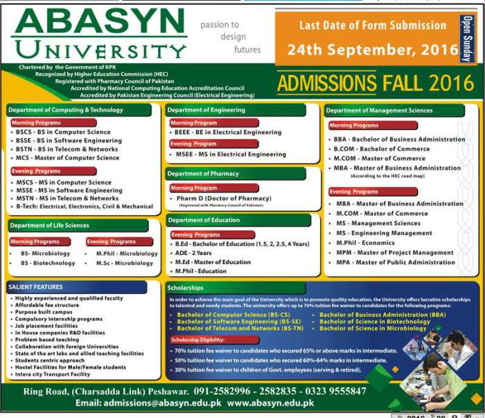 Admissions Open In Abasyn University Peshawar Fall 2016
