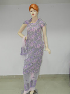 Lucknowi Chikan Purple Georgette Dress Material