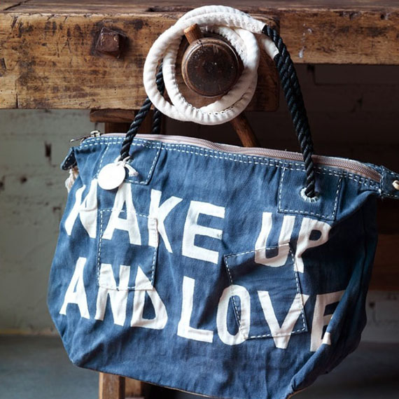 wake up and love quote canvas bag