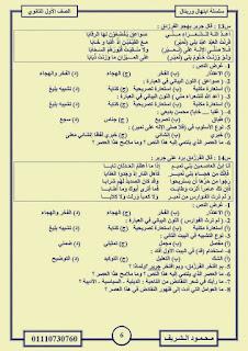 توقعات النصوص المتحررة لمادة للغة العربية للصف الاول الثانوي الترم الاول