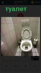 Помещение туалета со сливным бачком и унитазом
