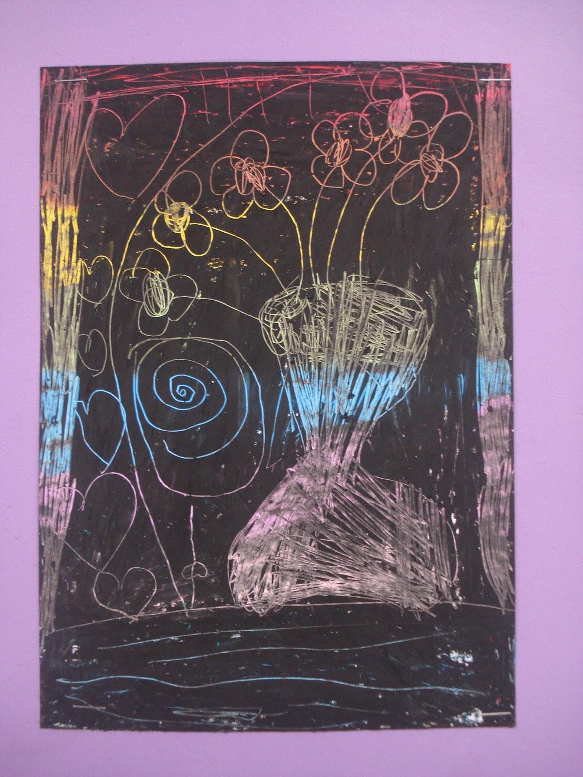 Andrea Ferrari Studio Art Grade 1 Crayon Etching