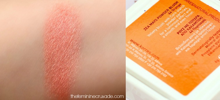 Korres Zea Mays Powder Blush in '44 Orange' - swatch