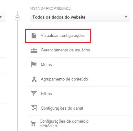 google analytics visualizar configurações
