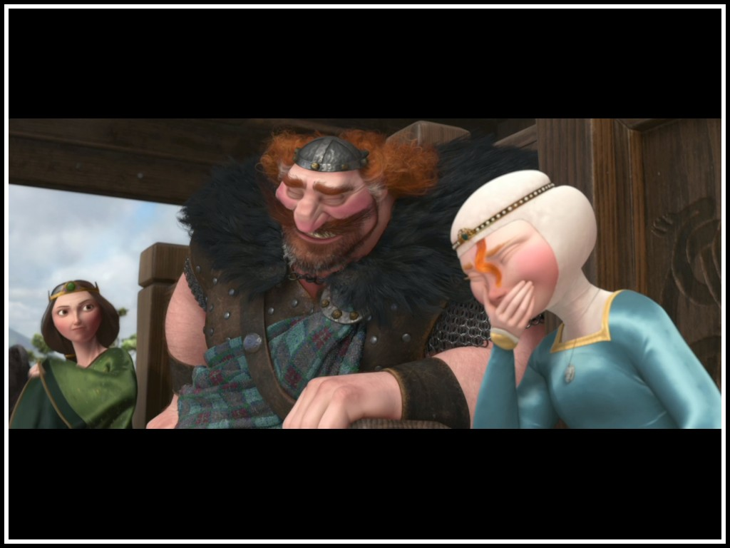Elinor, Merida and Fergus sharing a laugh in Brave 2012 animatedfilmreviews.filminspector.com