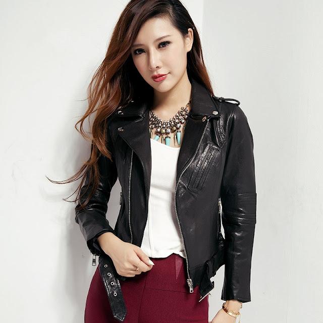 jaket kulit korean style wanita