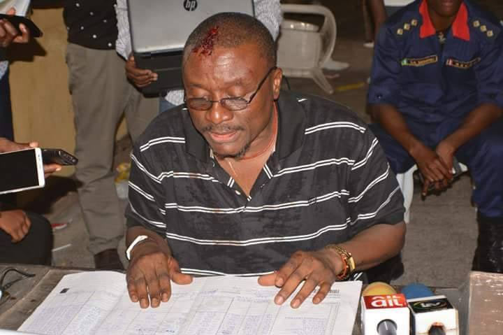 Strange? INEC official bleeds as he announces Rivers Re-run election results