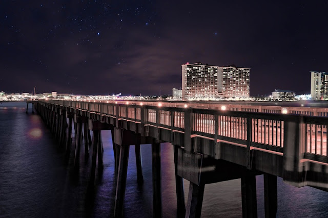 Star Glitter and Lamp in Beautiful Night at Panama City Beach