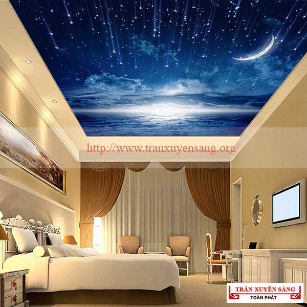 Mẫu trần phòng ngủ in bầu trời 3