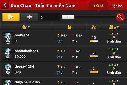 Thao tác trên màn hình chọn bàn mới game iWin Online 4.3.0:
