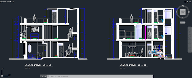 Map of architecture detached house with two floors plus roof in AutoCAD