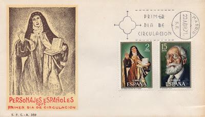 Sobre PDC de los sellos de Santa Teresa y de Menéndez Pidal de la serie Personajes Españoles