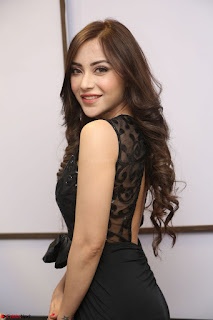 Angela Krislinzki in Transparent Black Gown at Rogue Movie Teaser Launch 1st March 2017 059.JPG