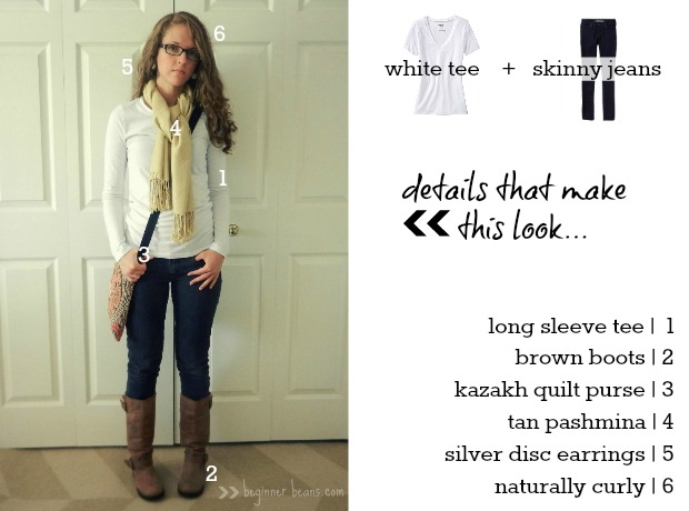 white long sleeve tee, skinny jeans, leather boots, kazakh quilt purse, and pashmina