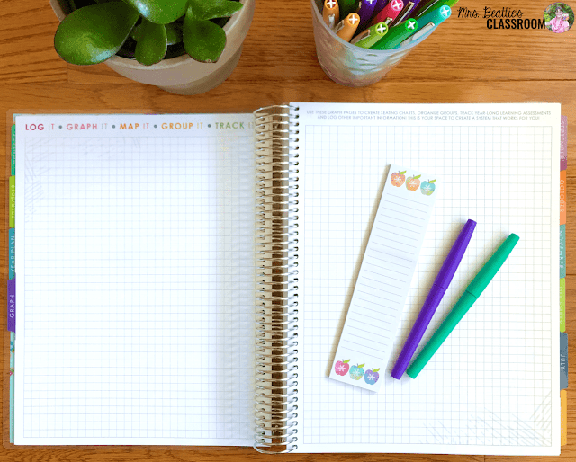 Photo of Erin Condren Teacher Planner grid pages