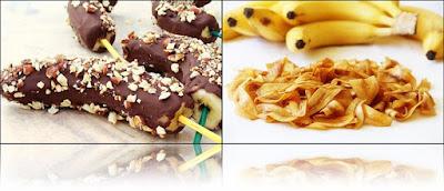 Olahan es pisang coklat dan keripik pisang yang lezat