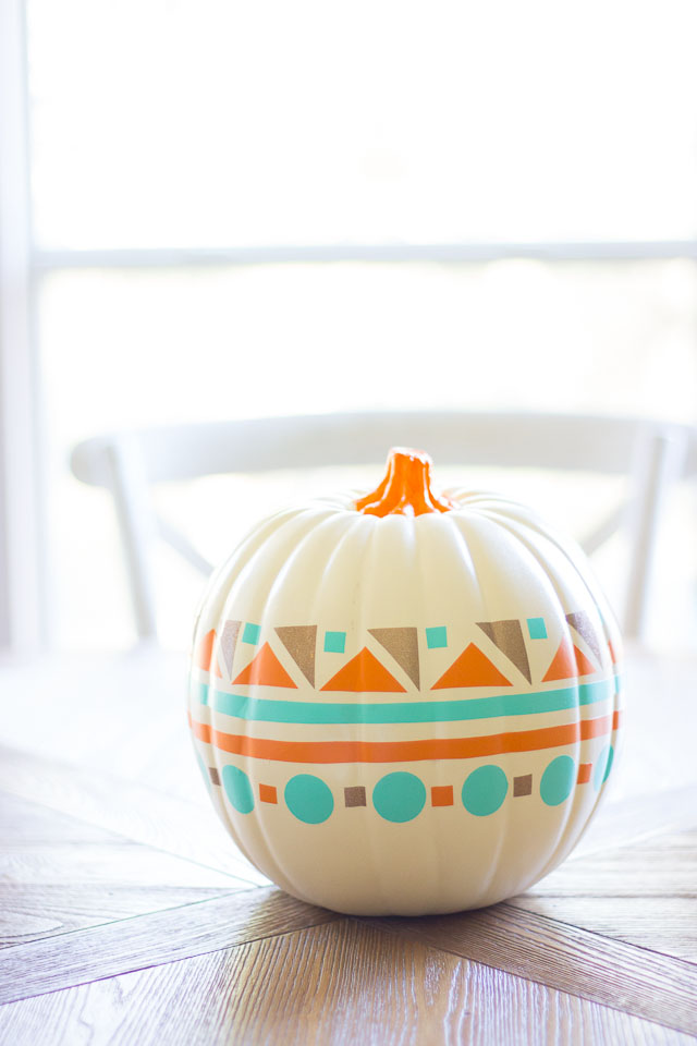 Use colorful vinyl shapes to create a modern geometric pumpkin!
