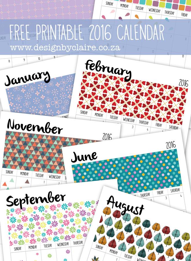 Design by Claire Free Printable 2016 Calendar - calendar sample design